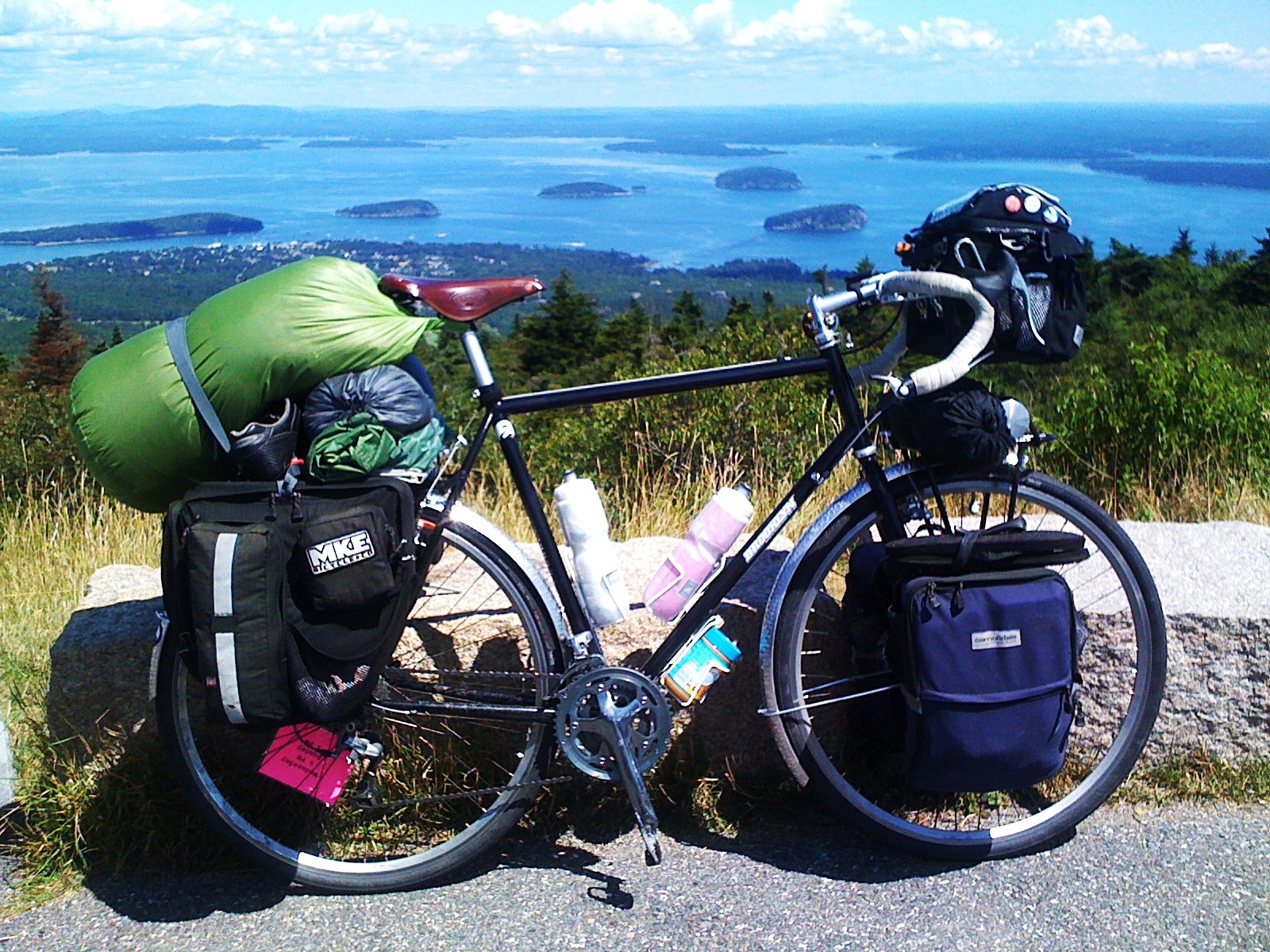 fully loaded touring bike on cadillac mountain bar harbor maine 20110812-125851.jpg