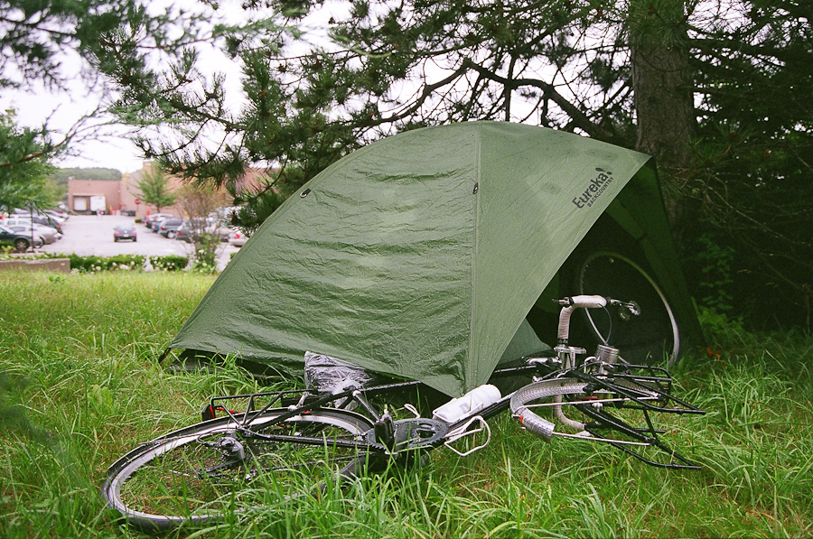 bike tour tent campsite in maine